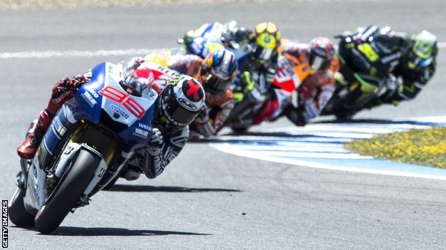 MotoGP riders racing at Jerez