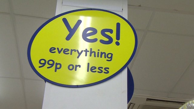'Everything 99p or less' shop sign