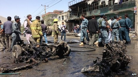 Afghan security forces at the scene of the blast in Kabul, 16 May 2013