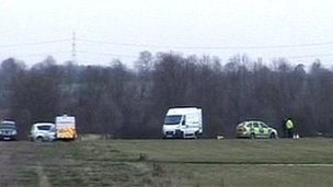 Vehicles at scene of helicopter crash