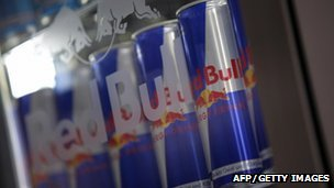 Cans of Red Bull energy drinks