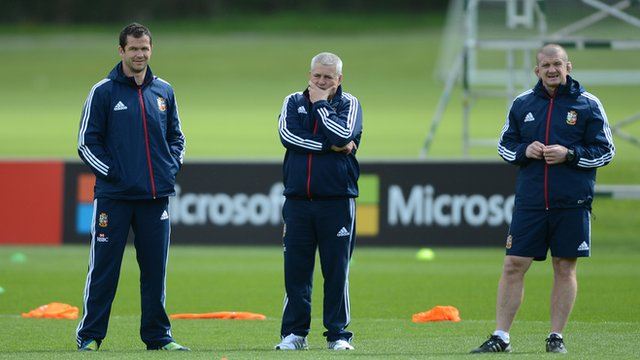 Lions coaches Andy Farrell, Warren Gatland and Graham Rowntree during training
