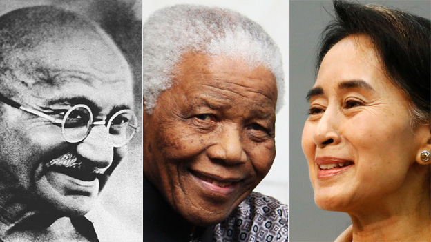 Gandhi, Nelson Mandela and Aung San Suu Kyi