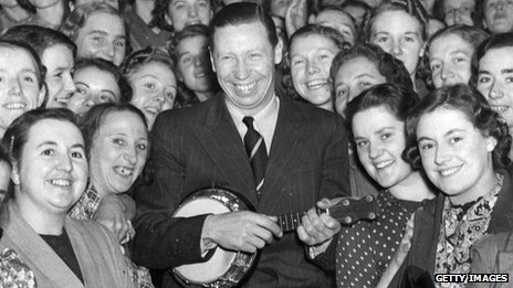 George Formby and his ukelele among a crowd of war workers during a free concert in northern England in 1940