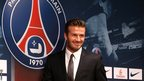 David Beckham and the Paris St-Germain logo