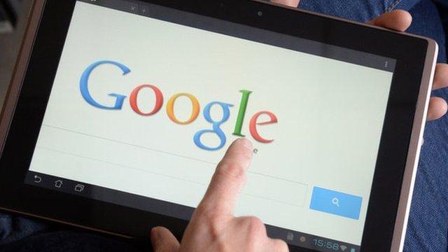 Google logo on a tablet computer