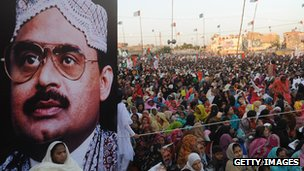 Picture of Altaf Hussain at rally in Karachi. Jan 2011