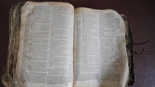 A Huguenot bible that was hidden by being baked in a loaf of bread