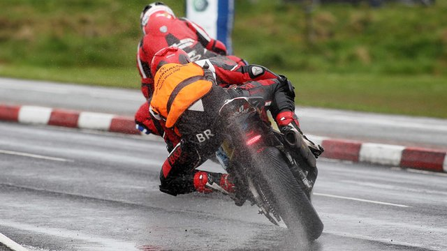 Action from a rain soaked North West 200 practice session