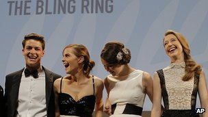 From left, Israel Broussard, Emma Watson, Katie Chang and Taissa Fariga. 16 May 2013
