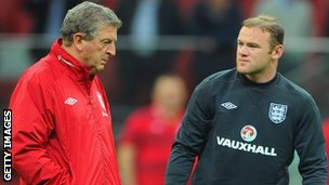 England coach Roy Hodgson and Wayne Rooney