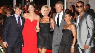 (left to right) Tom Cruise, Katie Holmes, Victoria and David Beckham, Jada Pinkett Smith and Will Smith