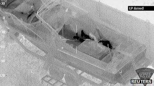 An aerial infrared image shows the outline of Dzhokhar Tsarnaev hiding in a boat in Watertown, Massachusetts in this file photo taken 19 April 2013
