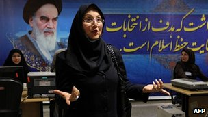 Mehan Javid registers her candidacy for the presidential election at the interior ministry in Tehran. 9 May 2013