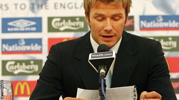 David Beckham resigns as England captain