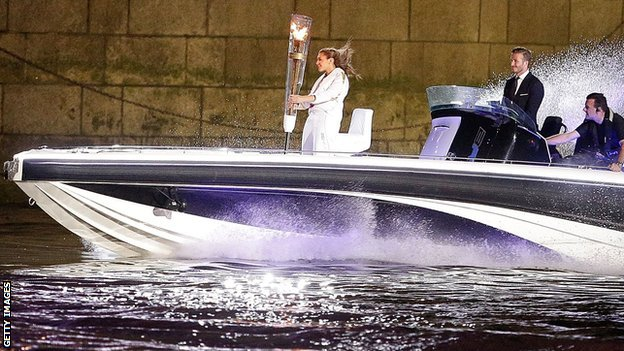 David Beckham on a speedboat