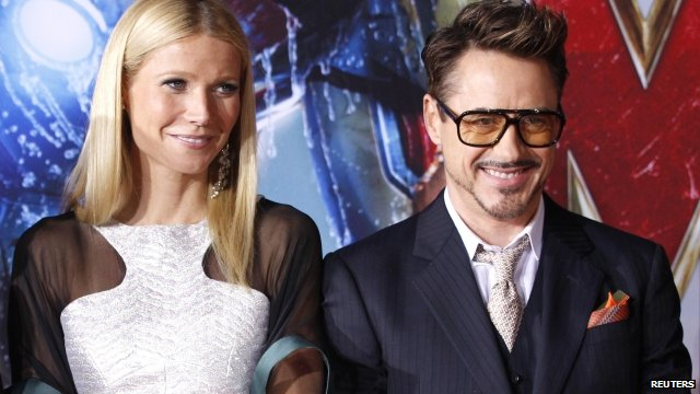 Gwyneth Paltrow and Robert Downey Jr promoting Iron Man 3