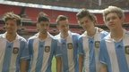 One Direction in Argentinian football kit 