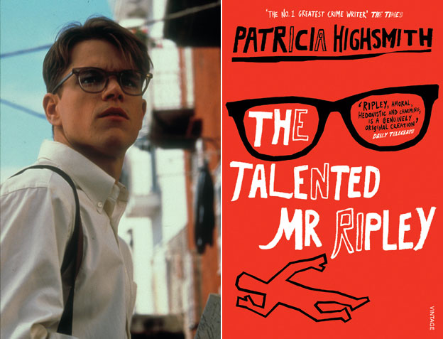 Matt Damon as Tom Ripley; book cover, The Talented Mr Ripley