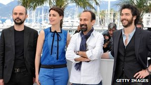 Ali Mosaffa, actress Berenice Bejo, director Asghar Farhadi and actor Tahar Rahim