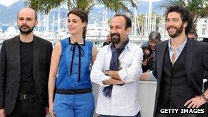Ali Mosaffa, actress Berenice Bejo, director Asghar Farhadi and actor Tahar Rahim