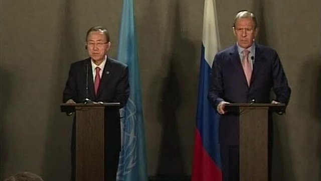 Ban Ki-moon and Sergei Lavrov