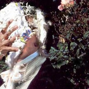 A man dressed as Mr Darcy gets a custard pie thrown in his face.