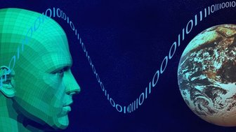 A graphic of a person and the Earth respresenting the world wide web