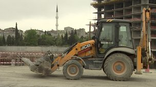JCB on building site in Istanbul