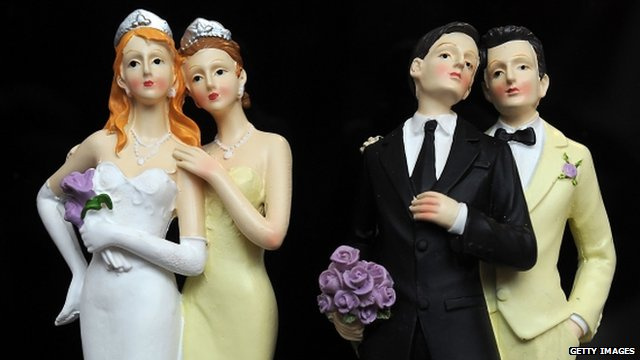 Plastic figurines of same-sex couples