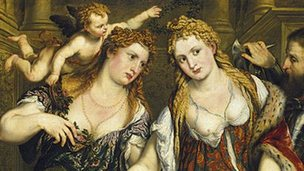 Two Women, a Cupid and a Soldier, Paris Bordone (c 1550)