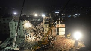 Site of factory collapse in Dhaka.