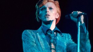 David Bowie performing in 1976
