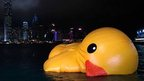 A 16m (52ft)-high rubber duck in Hong Kong&#039;s Victoria Harbour
