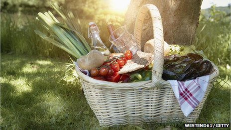 Picnic hamper full of food