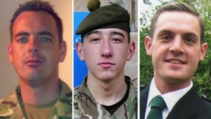 Cpl William Savage, Fusilier Samuel Flint and Pte Robert Hetherington who died in Afghanistan