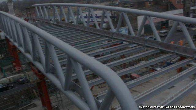 The Nottingham tram bridge
