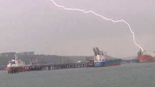 Lightening over Milford Haven estuary