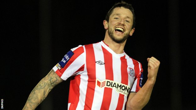Rory Patterson scored Derry's first-half goal and was then sent off