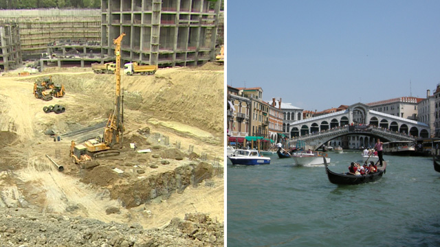 Turkish building site and a view of the Grand Canal, Venice