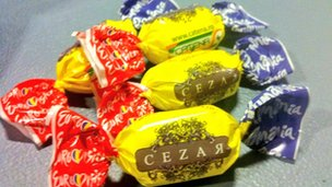 Romanian entry Cezar tried to keep journalists happy during the jury rehearsal with free sweets