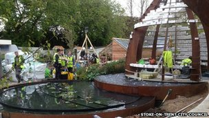 The garden being built at the Chelsea Flower Show