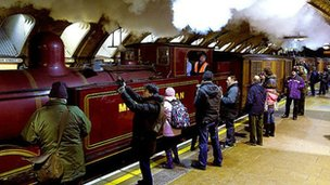 Steam train on the underground