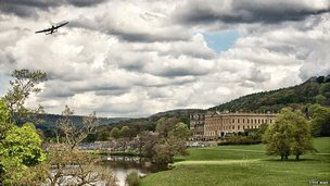 Steve Wake from Peak District Online took this photo of a Lancaster Bomber over Chatsworth House