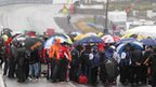 Rain pours down at the NW200 grid