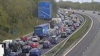 Traffic queuing on the M4 after the crash