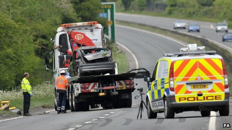 The scene of the crash on the A419 near Swindon