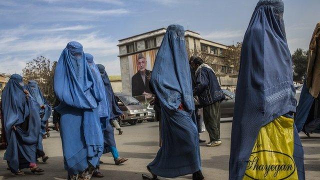 Afghan women walk through the street in Kabul