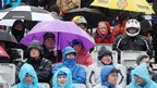 Spectators endured a frustrating wait in the rain for some road racing action