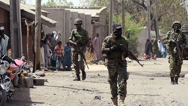 Nigerian troops patrol town of Baga, Borno State. 30 April 2013